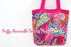 Puffy Reversible Tote in FuchsiaふわふわPink Swirleパフトート!