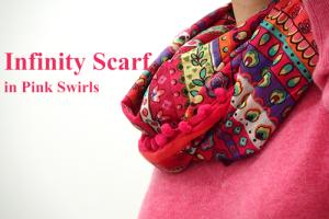 ポンポンスカーフ ♪Infinity Scarf インフィニティスカーフ Pink Swirls