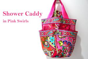 Shower Caddy in Pink Swirls 雨の日用ヴェラ