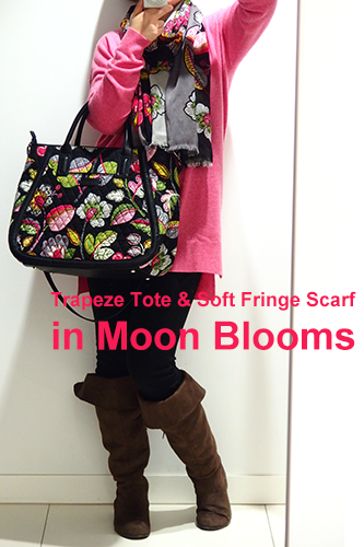 Trapeze Tote in Moon Blooms & Soft Fringe Scarf in Moon Blooms 着画